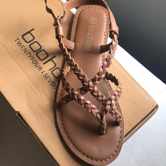 79d6c7b553d NWT brown strappy sandals. NWT. Boohoo.  22  30. Size. 6. Buy Now